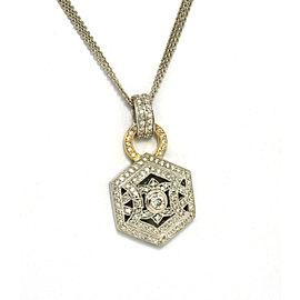 Estate 14K W/Gold 1ct Diamond Ladies Hexagon Shape Pendant Triple Chain Necklace