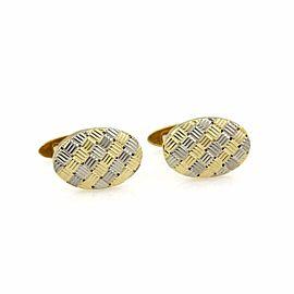 Tiffany & Co. Retro Style 18k Two Tone Gold Oval Stud Cufflinks