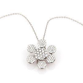 Estate 18K White Gold 1.60ctw Pave Diamond Flower Pendant Necklace