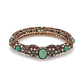 Vintage 18.5ct Emerald Ruby Seed Pearls 9k Gold Filigree Snake Bangle