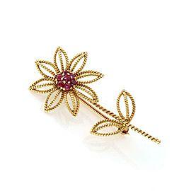Tiffany & Co. Vintage Ruby 18k Yellow Gold Flower Brooch