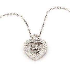Estate 14K White Gold Italian Floating Diamond Heart Pendant Necklace