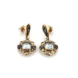 Retro Vintage 6.00ct Aquamarine Diamond 18k Rose Gold Drop Dangle Earrings