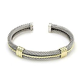 David Yurman Sterling Silver 14k Gold Double Cable Band Cuff Bracelet