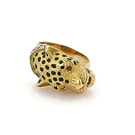 Vintage Diamond & Ruby 18k Yellow Gold Cheetah/Panther Ring Size - 5