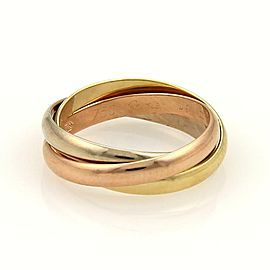 Cartier Trinity 18k Tri-Color Gold 2.5mm Rolling Band Ring EU 49-US 5