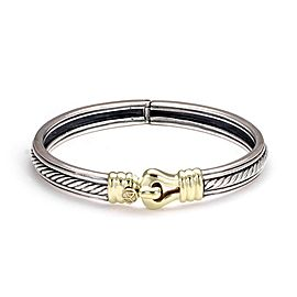 David Yurman Sterling 18k Yellow Gold Cable 8mm Wide Belt Bangle Bracelet