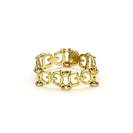 Gucci 18k Yellow Gold All Around G Logo Flex Link Band Ring Size 5