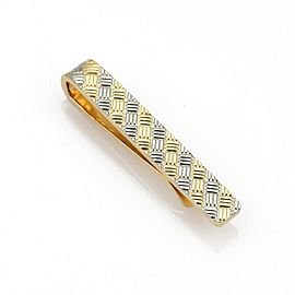 Tiffany & Co. 18k Two Tone Gold Weave Textured Tie Bar Clip