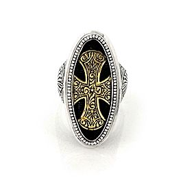 Konstantino Maltese 950 Silver & 18k Gold Large Oval Shape Cross Ring