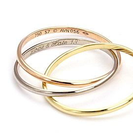 Cartier 18k Tricolor Gold 1.5mm Triple Rolling Band Ring Size EU 57-US 8