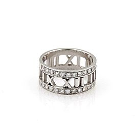 Tiffany & Co. Atlas Diamond 18k White Gold 9mm Wide Band Ring Size 6.5