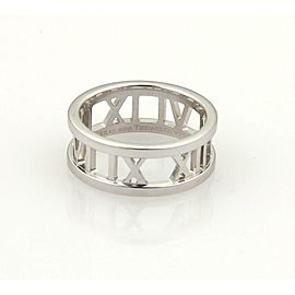 Tiffany & Co. 18k White Gold Open Atlas Roman Numeral Band Ring Size 5