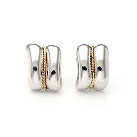 Tiffany & Co. Sterling 14k Yellow Gold Curved Shell Clip On Earrings