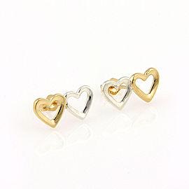 Tiffany & Co. 18K Yellow Gold & Sterling Silver Double Heart Designer Earrings