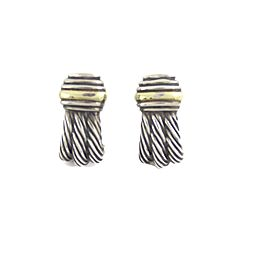 David Yurman Sterling 14k Yellow Gold Cable Curved Post Clip Earrings