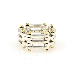 Tiffany & Co. GATELINK Sterling 18k Yellow Gold Flex Band Ring Size 4