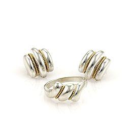 Tiffany & Co. Sterling Silver & 18k Yellow Gold Stud Earrings & Ring Set