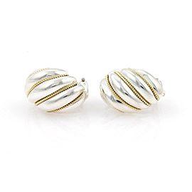 Tiffany & Co. Sterling Silver 18k Yellow Gold Shrimp Huggie Earrings