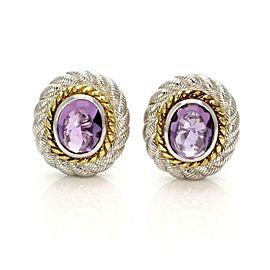Judith Ripka Amethsyt Sterling Silver Oval Clip On Earrings