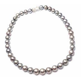 Mikimoto 18k Gold Diamond Tahitian Black South Sea Pearl Strand Necklace