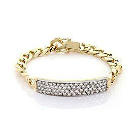 14k Yellow & White Gold 3 Carats Diamond Bar & Chain Bracelet