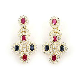 Estate 8.75ct Diamond Ruby Sapphire 18k Yellow Gold Floral Dangle Earrings