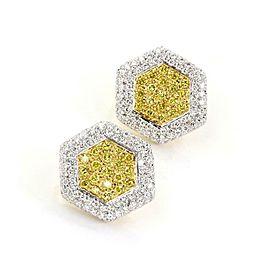 Estate 6 Carats Fancy Yellow & White Diamond 18k Two Tone Gold Earrings