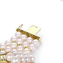 18k Yellow Gold 1 Carat Diamond 4 Strand 7mm Pearl Bracelet