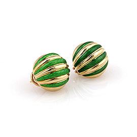 Tiffany & Co. Italy 18K Yellow Gold Green Enamel Circular Huggie Earrings