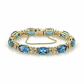 Estate 75.5ct Blue Topaz & Diamond 14k Yellow Gold Oval & Star Link Bracelet