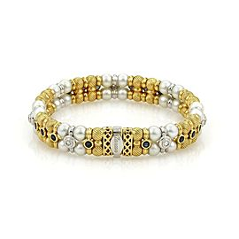 Designer Signed ZANCAN 2.42ct Sapphire & Diamond Pearls 18k Gold Bracelet