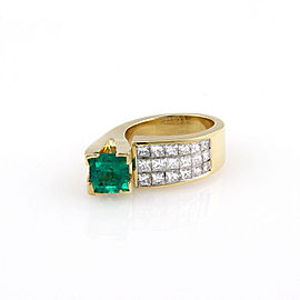 Estate 18K Yellow Gold 2ct Emerald & Invisible Set Diamond Fashion Ring