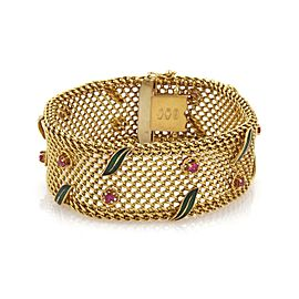 Vintage 2ct Ruby 18k Yellow Gold Wide Mesh Floral Leaf Bracelet