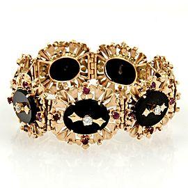 Vintage Retro 18kt Rose Gold Diamond Rubies & Onyx Floral Link Bracelet