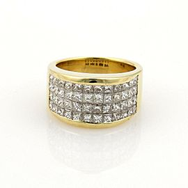 18k Yellow Gold 3ct Princess Cut Invisible set Diamonds 12mm Wide Band Ring