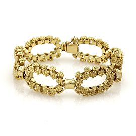 18k Yellow Gold Oval Rosette Link Chain Bracelet