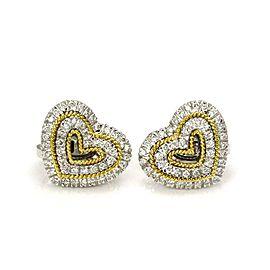 Harpo's 1 Carat Diamond 18k Two Tone Gold Hearts Post Clip Earrings