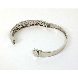 022535 White Gold Rubies 14kt 6ctw Diamonds Semi Dome Bangle Bracelet