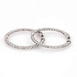 14K WG Diamond 3.30 Carat Inside Outside Diamond Hoop Earrings