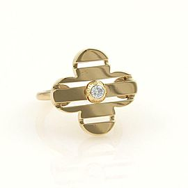 Louis Vuitton Petite Fleur Diamond 18k Yellow Gold Floral Ring Size 6