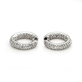 Estate 3.30ct Diamond Inside Out 14k White Gold Small Hoop Earrings