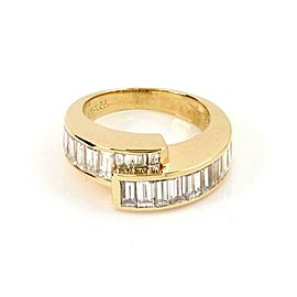 Charles Krypell 2ct Diamond 18k Yellow Gold 8mm Wide Bypass Band Ring