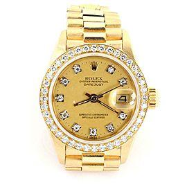Rolex Oyster Date Just President Diamond 18k Gold Ladies Watch 6917