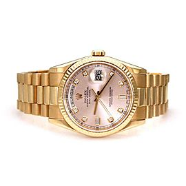 Rolex Oyster President 18k Rose Gold Diamond Day Date Men's Automatic Watch