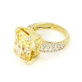 Judith Ripka Diamond Canary Crystal 18k Gold Rectangular Ring Size 5.5