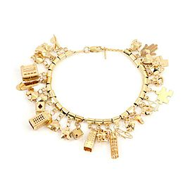 14k Yellow Gold 28 Assorted Dangling Charms Chain Bracelet