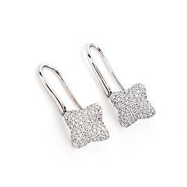 David Yurman Diamond 18k White Gold Quatrefoil Hook Dangle Earrings