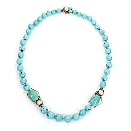 Vintage 14k Yellow Gold Turquoise Pearls Ruby Beaded Bug Charm Necklace
