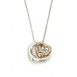 Tiffany & Co Peretti Sterling 18k Rose Gold Double Open Heart Pendant Chain